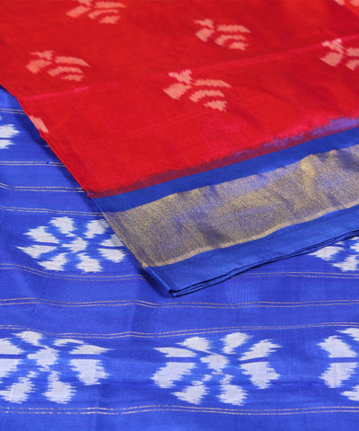 Red Blue Handwoven Ikkat Silk Saree