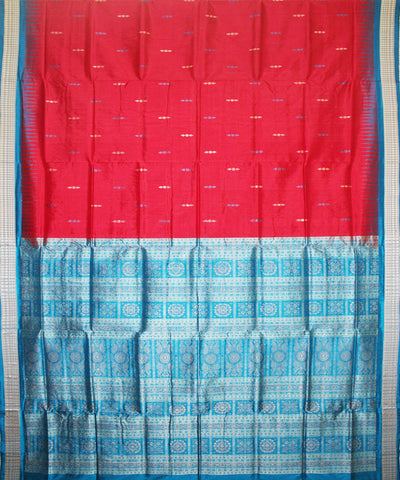 Handwoven Bomkai Silk Saree of Sonepur in Red and Dodger Blue