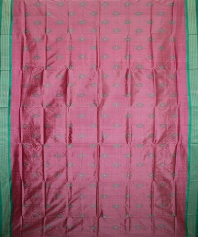 Handwoven Bomkai Silk Saree of Sonepur in Amaranth Pink and Sea Green