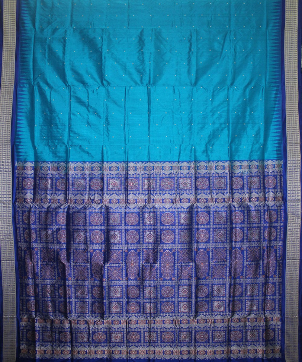 Handwoven Patli Bomkai Silk Saree of Sonepur in Ball Blue and Blue