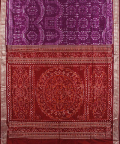 Purple Maroon Handwoven Sambalpuri Silk Saree