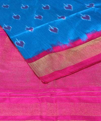 Sky blue pink handwoven ikat silk pochampally saree