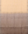 Handwoven Macaroon And Grey Linen Saree