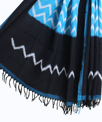 Handwoven Double Ikat Cotton Duppata In Blue and Black Color