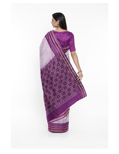 Off White Purple Sambalpuri Cotton Ikat Saree