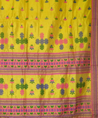 Yellow Assam Silk Saree