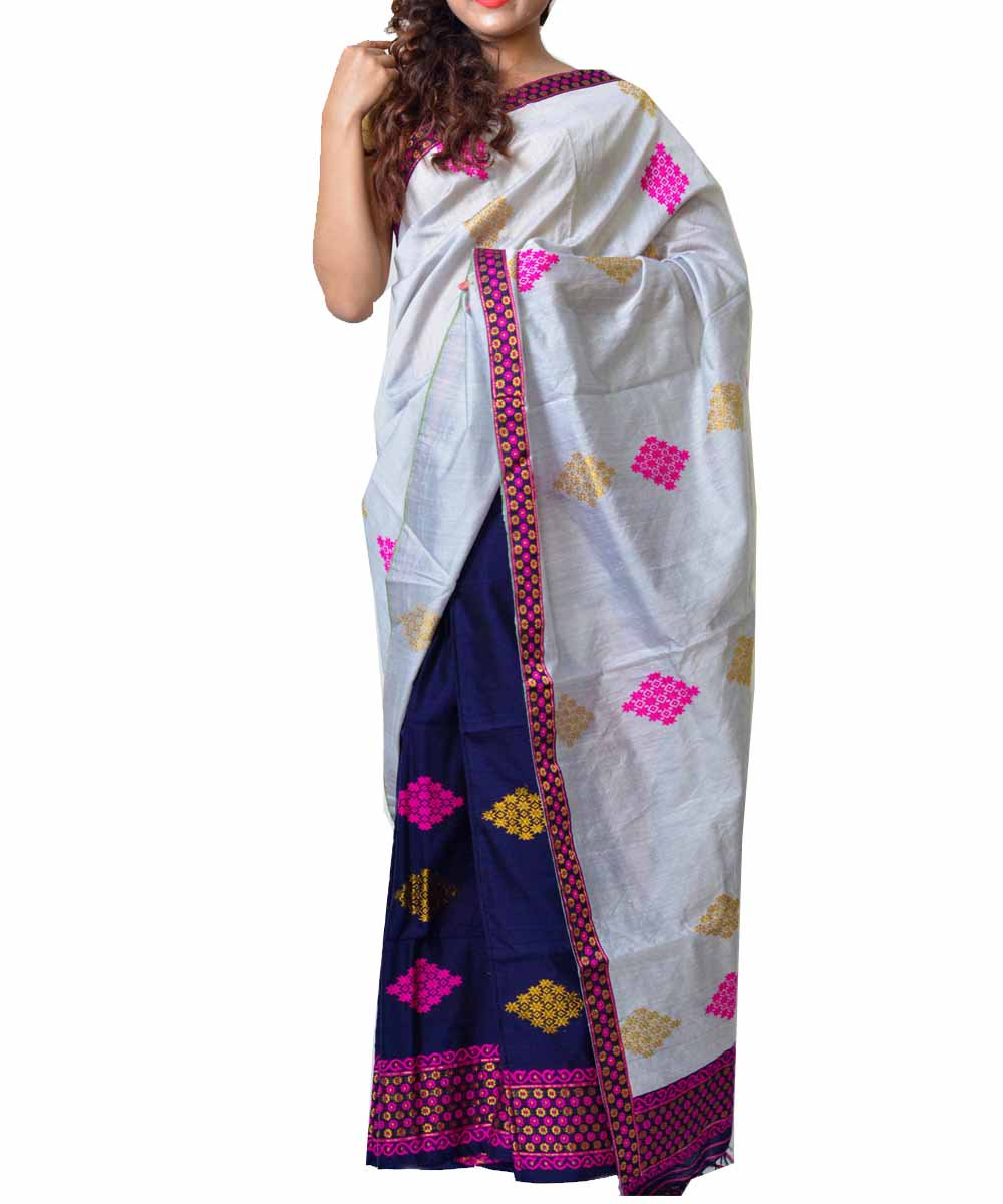 Silver Grey and Navy Assamese Saree
