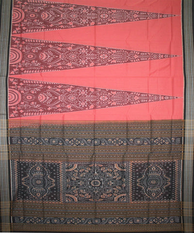 Handwoven Sambalpuri Ikat Cotton Saree in Brink Pink and Black