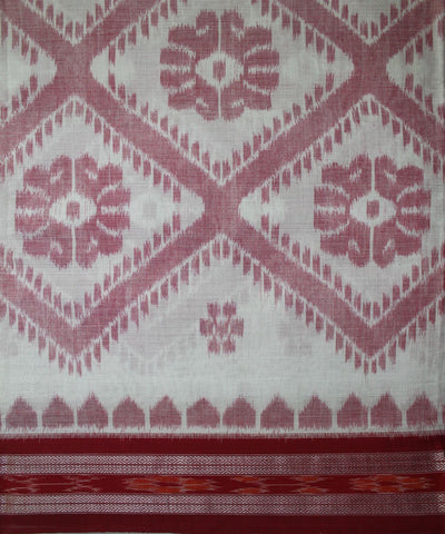 Handwoven Nuapatna Ikat Cotton Saree in Off White and Red