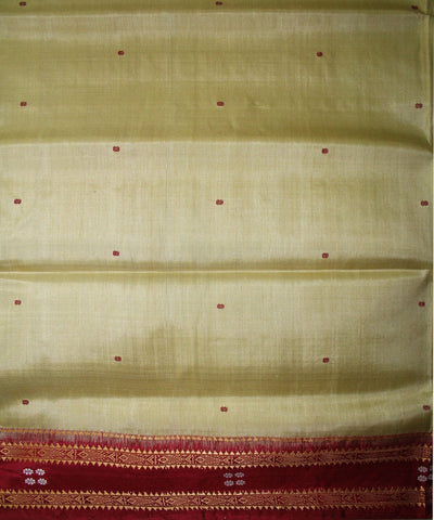 Handwoven Khandua Silk Saree of Nuapatna in Cream and Maroon