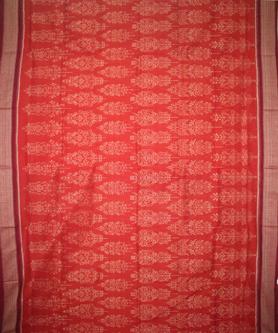 Handwoven Sambalpuri Ikat Cotton Saree in Rust and Maroon