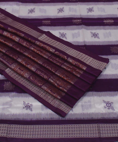 Purple White Handloom Bomkai Silk Saree