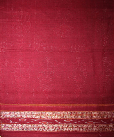 Handwoven Sambalpuri Ikat Cotton Saree in Dark Green and Maroon