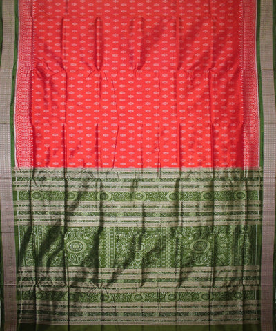 Handwoven Patli Sambalpuri Ikat Silk Saree in Red and Mehendi Green