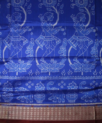 Handwoven Sambalpuri Ikat Silk Saree in Blue and Maroon