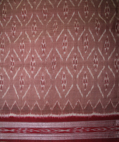 Handwoven Nuapatna Ikat Cotton Saree in Copper Rose and Maroon