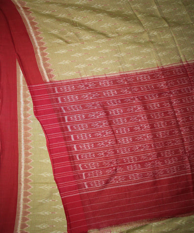 Handwoven Nuapatna Ikat Cotton Saree in Acid Green and Maroon