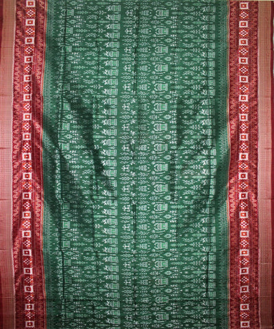 Handwoven Sambalpuri Ikat Silk Saree in Bottle Green and Maroon
