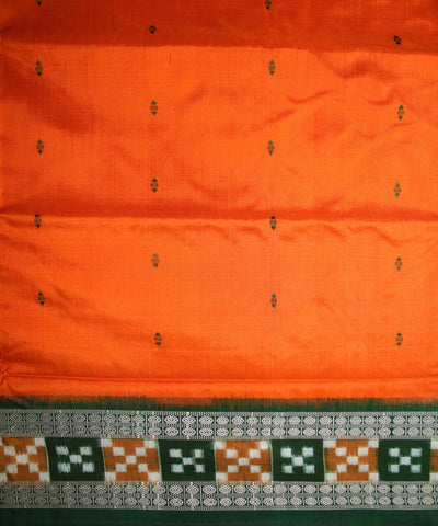 Handwoven Bomkai Silk Saree of Sonepur in Orange and Parrot Green