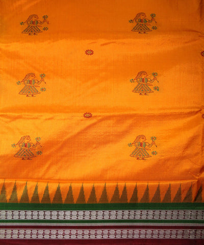 Handwoven Bomkai Silk Saree of Sonepur in Yellow and Maroon