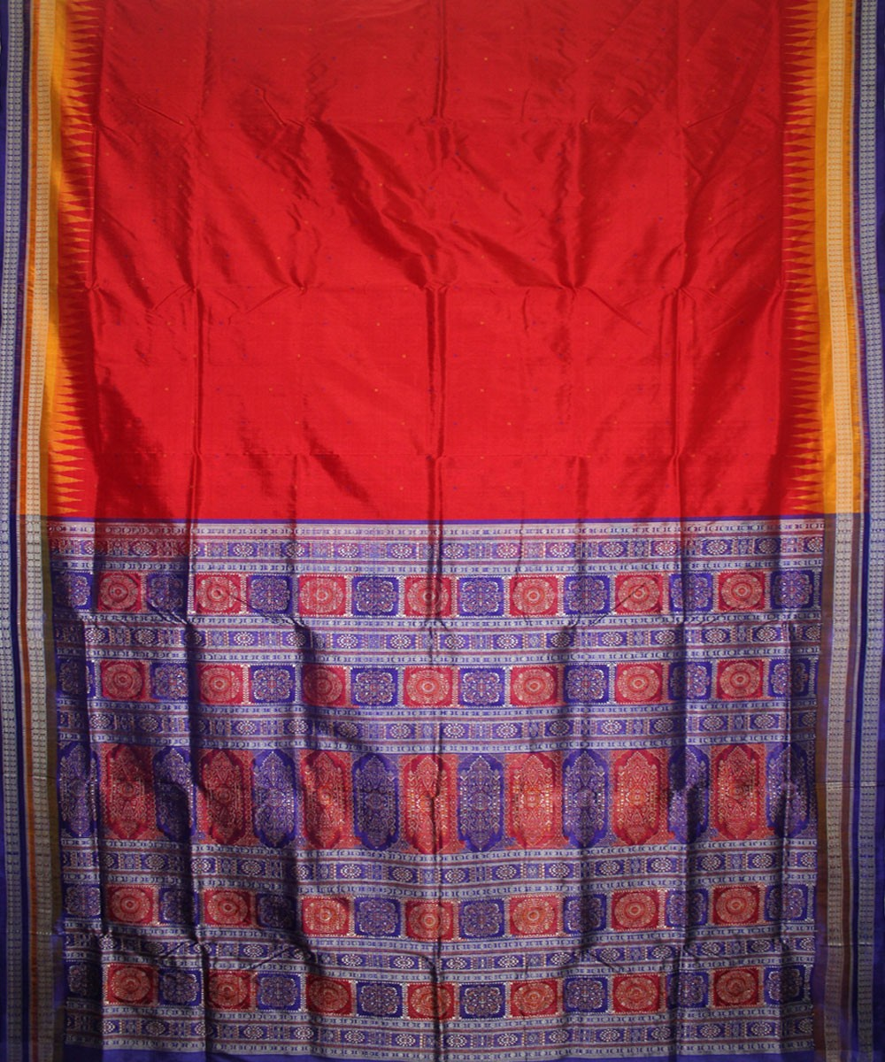 Handwoven Bomkai Silk Saree of Sonepur in Red and Blue
