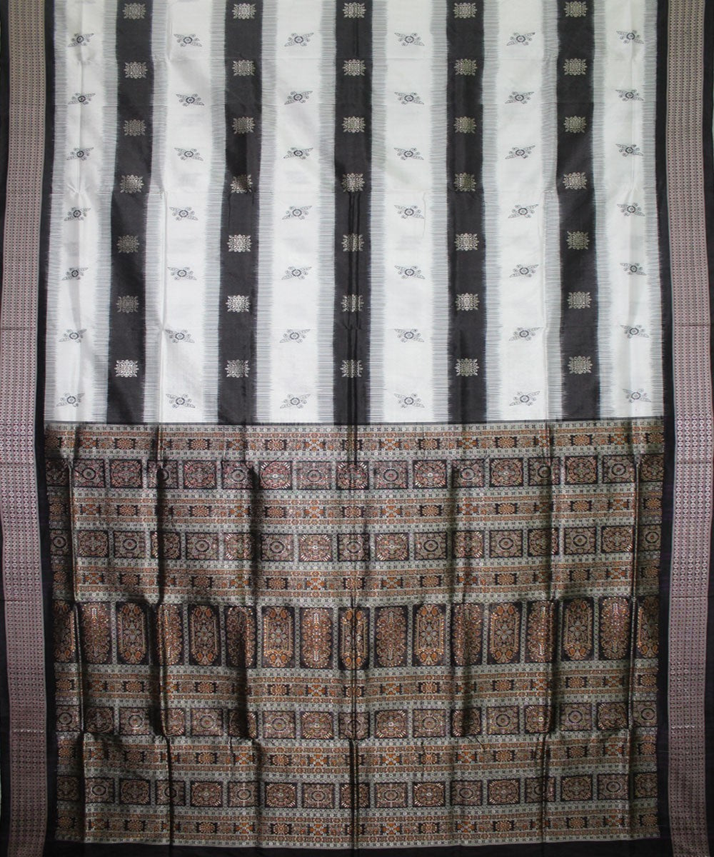 Handwoven Bomkai Silk Saree of Sonepur in White and Black