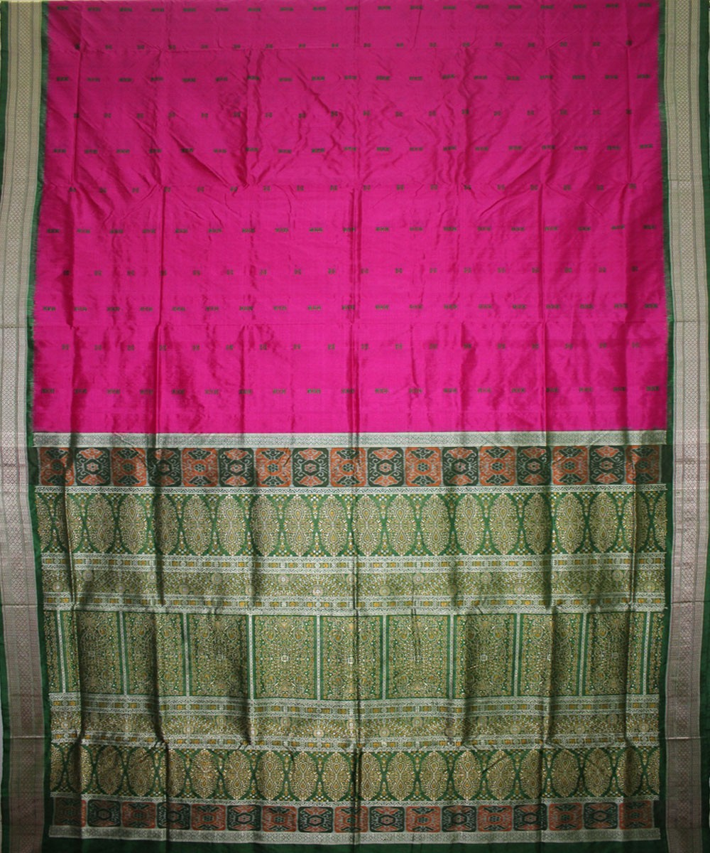 Handwoven Bomkai Silk Saree of Sonepur in Deep Pink and Parrot Green