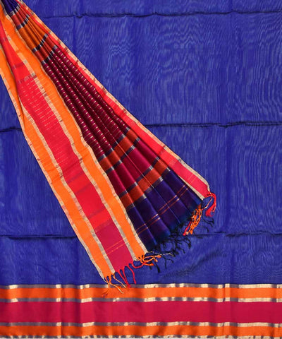 Maheshwari Handwoven Blue Purple Sico Saree