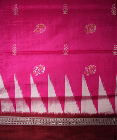Handwoven Bomkai Silk Saree of Sonepur in Deep Pink and Maroon