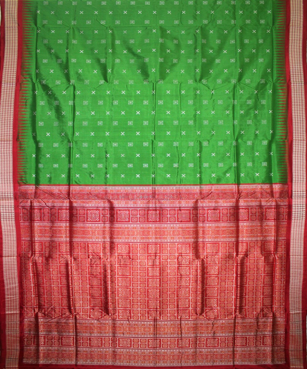 Handwoven Bomkai Silk Saree of Sonepur in Parrot Green and Red