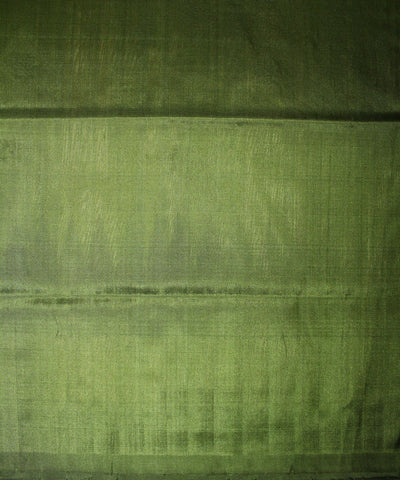 Handwoven Bomkai Silk Saree of Sonepur in Cream and Mehendi Green