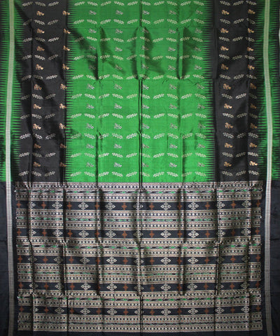 Handwoven Bomkai Silk Saree of Sonepur in Green and Black