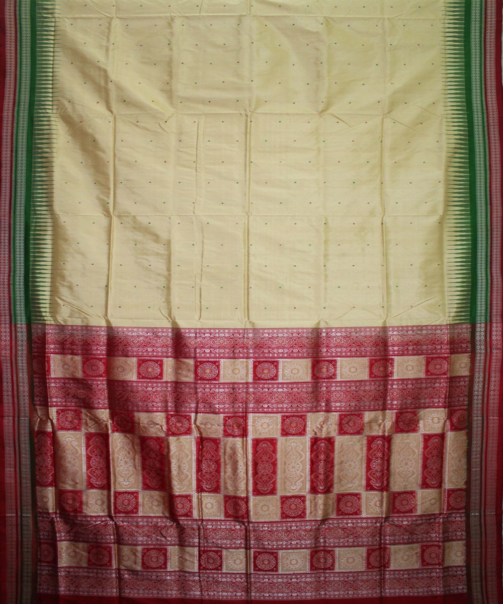 Handwoven Bomkai Silk Saree of Sonepur in Cream and Red
