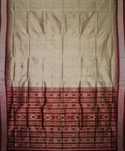Handwoven Bomkai Silk Saree of Sonepur in Grey and Maroon