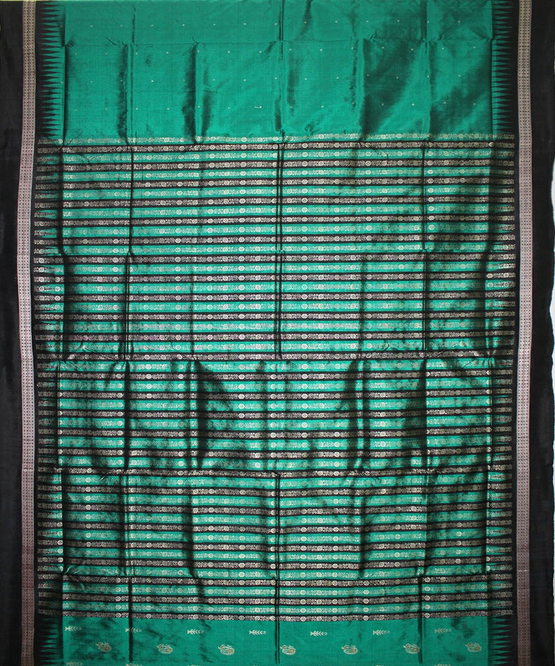 Handwoven Patli Bomkai Silk Saree of Sonepur in Sea Green and Black