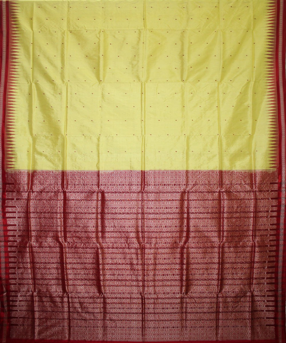 Handwoven Bomkai Silk Saree of Sonepur in Lemon Yellow and Red