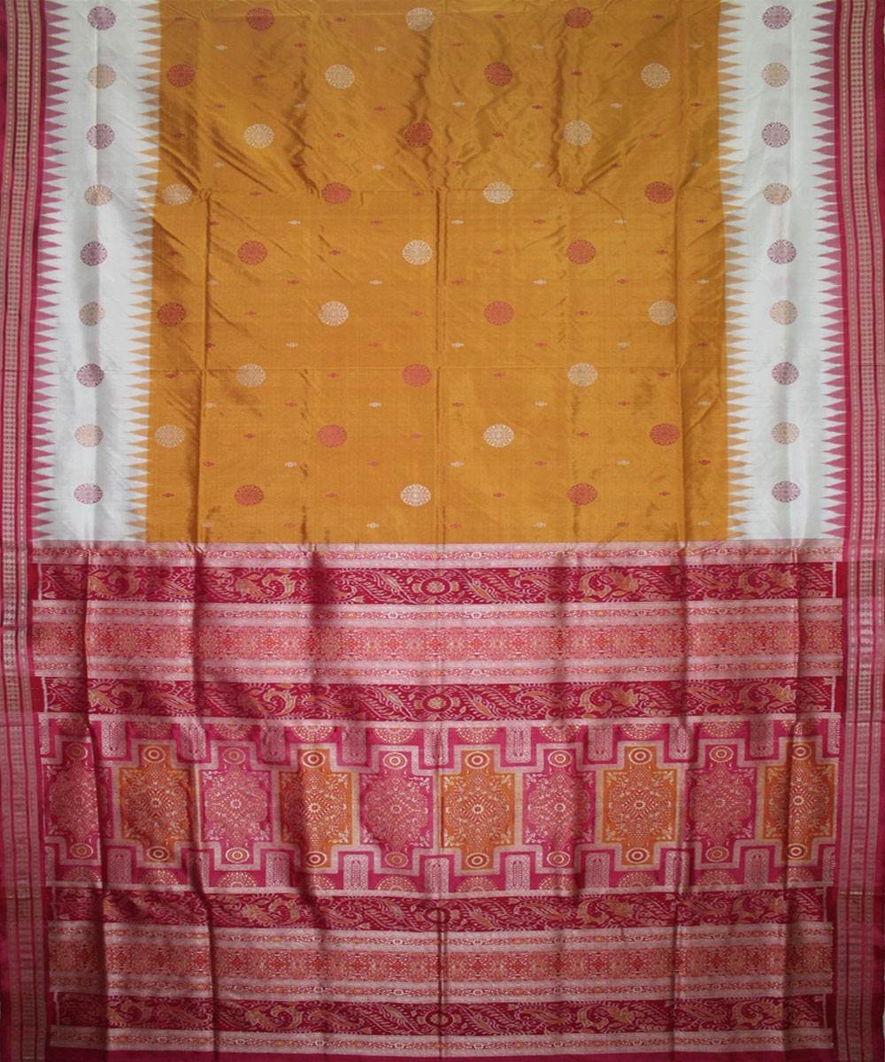 Handwoven Bomkai Silk Saree of Sonepur in Fulvous and Amaranth Pink
