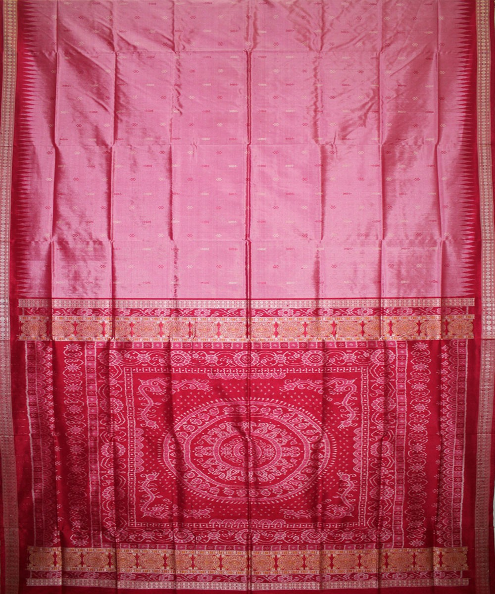 Handwoven Bomkai Silk Saree of Sonepur in Fuchsia Pink and Rose