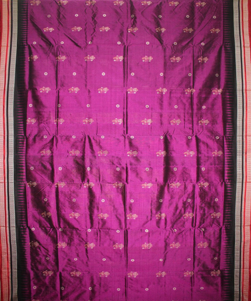 Handwoven Bomkai Silk Saree of Sonepur in Byzantine and Black