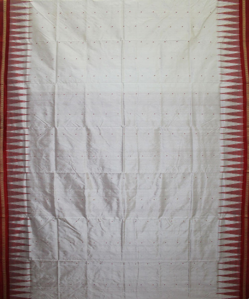 Handwoven Bomkai Silk Saree of Sonepur in White and Red