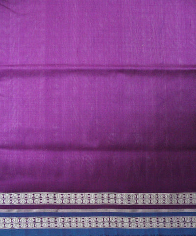 Handwoven Bomkai Silk Saree of Sonepur in White and Purple
