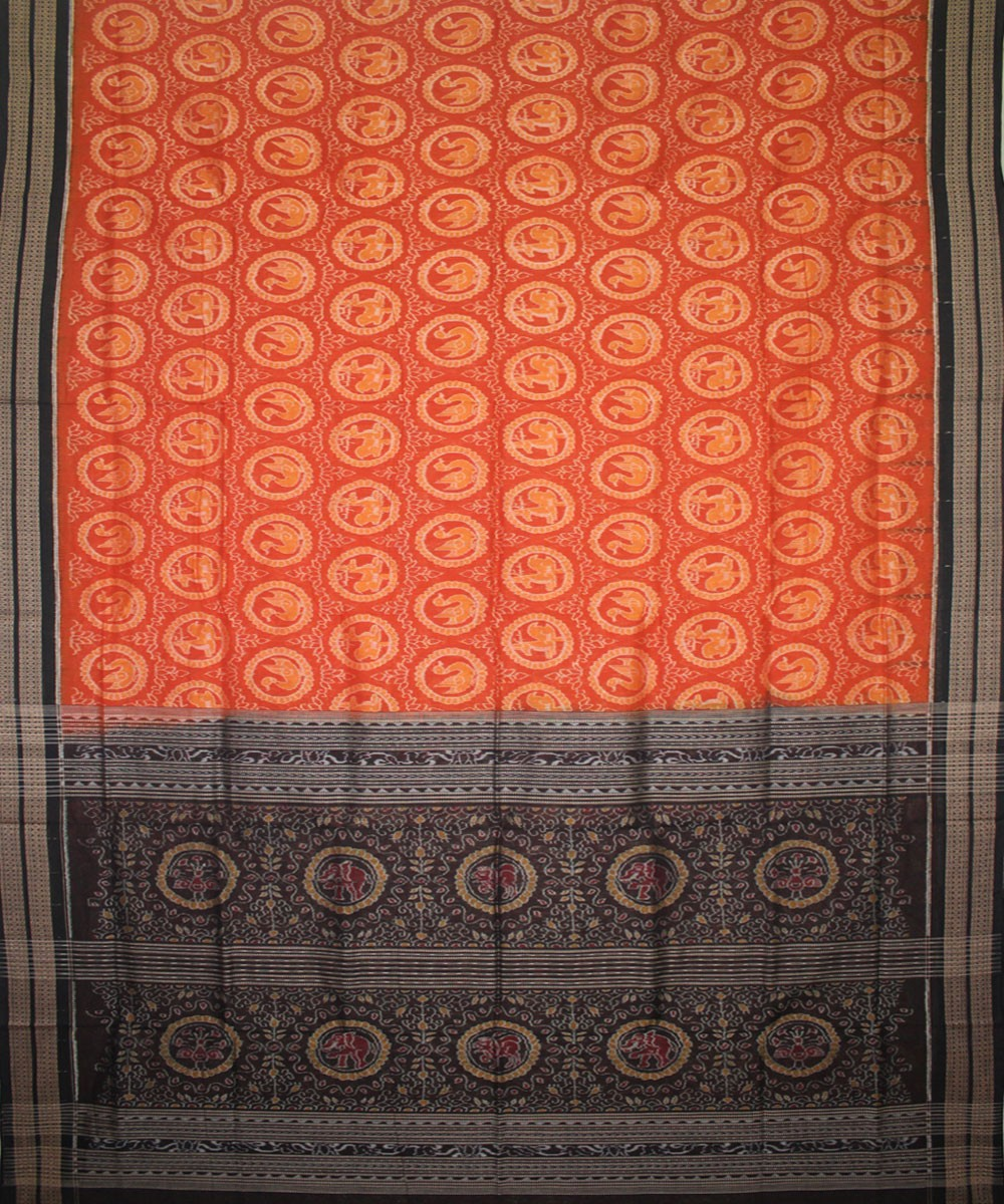 Handwoven Sambalpuri Ikat Cotton Saree in Rust and Black