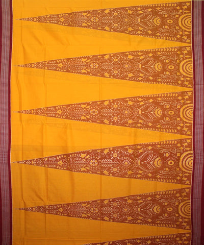 Handwoven Sambalpuri Ikat Cotton Saree in Yellow and Maroon