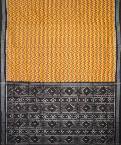 Handwoven Sambalpuri Ikat Cotton Saree in Yellow and Black
