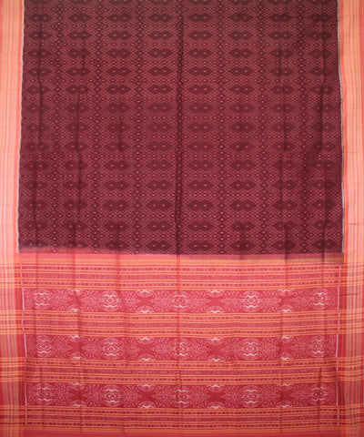 Handwoven Sambalpuri Ikat Cotton Saree in Coffee and Flamingo Pink