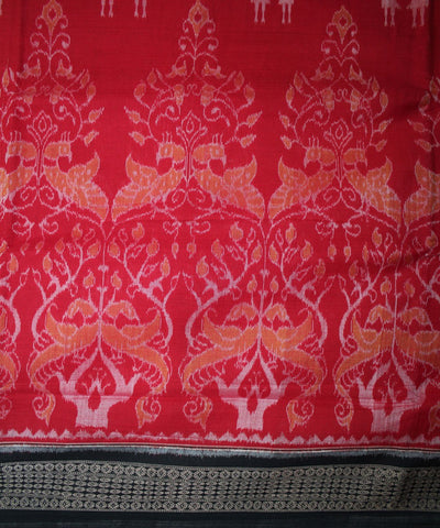 Handwoven Sambalpuri Ikat Cotton Saree in Red and Black