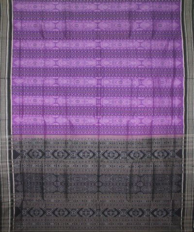 Handwoven Sambalpuri Ikat Cotton Saree in Purple and Black