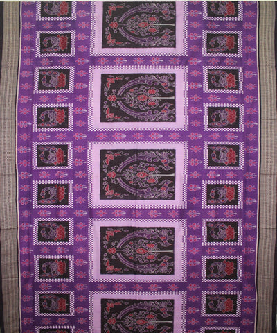 Handwoven Sambalpuri Ikat Cotton Saree in Purple and Coffee