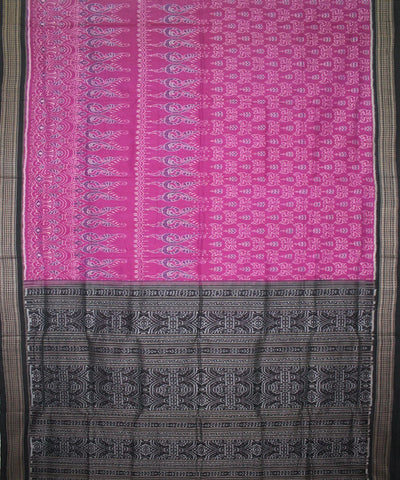 Handwoven Sambalpuri Ikat Cotton Saree in Byzantine and Black