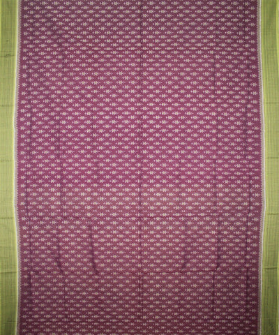 Handwoven Sambalpuri Ikat Cotton Saree in English Violet and Acid Green